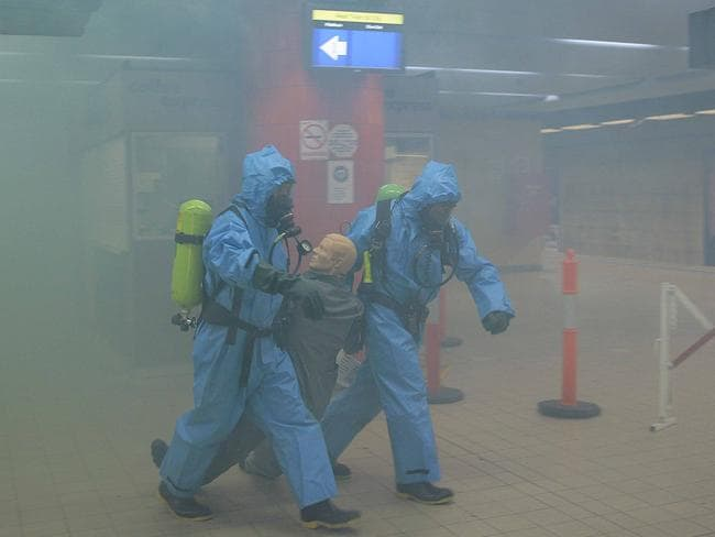 Emergency response ... Police and Emergency Services conducting an exercise at the Bondi Junction Railway Station in NSW to test the response to an attack on the rail network. Picture: Bill Hearne
