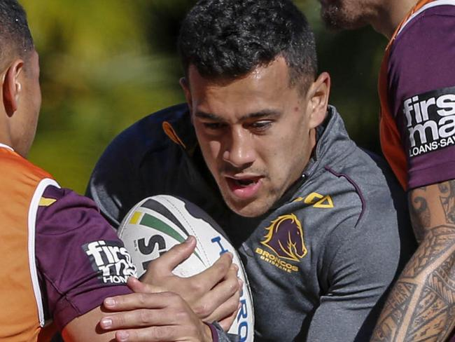 Jordan Kahu of the Broncos in action during training in Brisbane, Tuesday, July 25, 2017. (AAP Image/Glenn Hunt) NO ARCHIVING