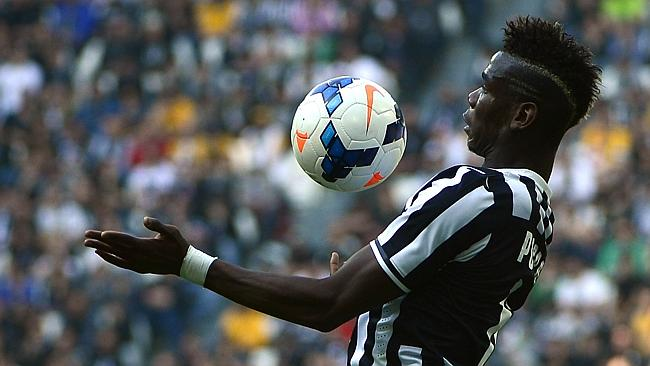 Juventus midfielder Paul Pogba controls the ball, as Juve extended its league at the top of Serie A.