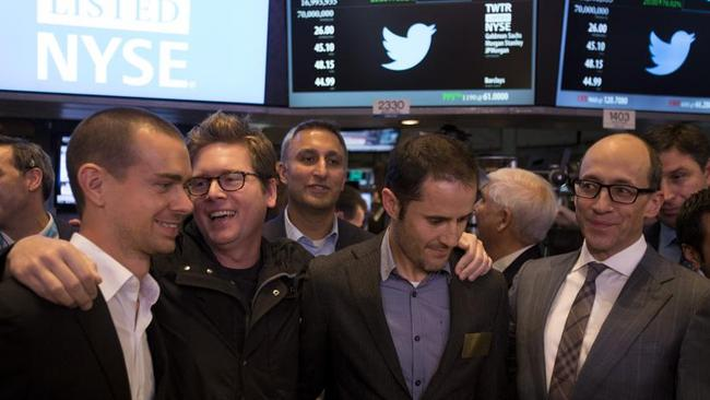 Twitter's executive team at the New York Stock Exchange in November on the day of the company's IPO.