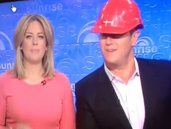Interrupted: Sunrise co-hosts Samantha Armytage and Larry Emdur forced to evacuate: Photo: Instagram @__my___