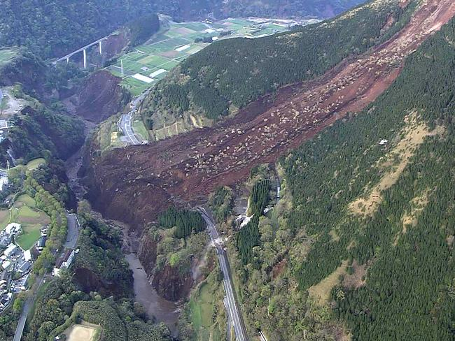 An aerial view of a landslide in Mimami-Aso, Kumamoto prefecture. Picture: AFP/Japan's Defence Ministry.