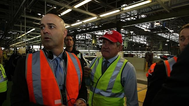 Mike Devereux and Federal Industries Minister Ian Macfarlane on a tour of the Holden factory in Elizabeth, South Australia.