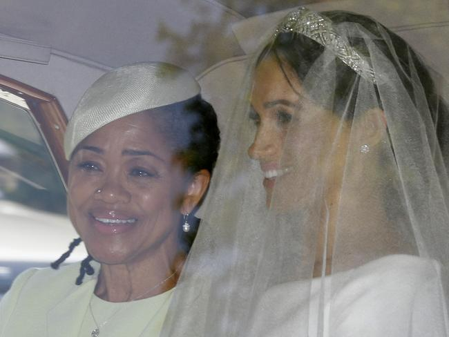 Meghan Markle, right, and her mother Doria Ragland. Picture: AP
