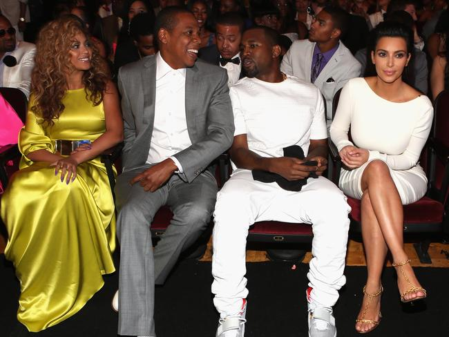 Power couples. Singer Beyonce, rappers Jay-Z and Kanye West and television personality Kim Kardashian attend the 2012 BET Awards.