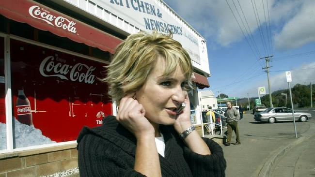 Sorenson, outside her fish and chip shop in Tasmania in 2003.