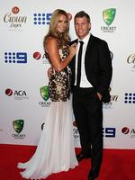 David Warner and partner Candice Falzon on the red carpet of the 2014 Allan Border medal. Pic Brett Costello