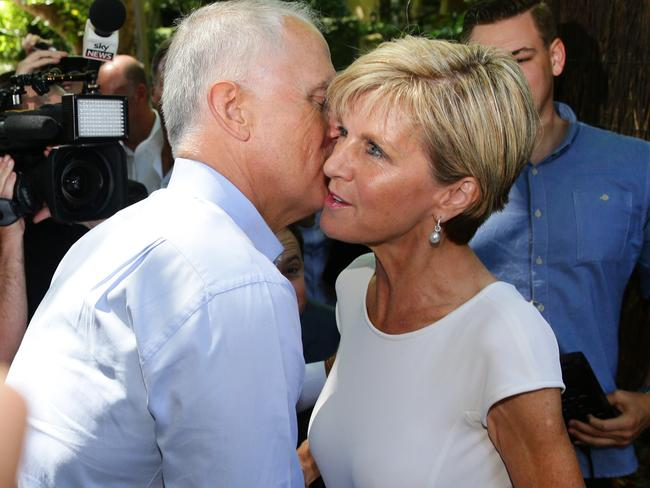 Colleagues today, perhaps enemies tomorrow ... Communications Minister Malcolm Turnbull greets Foreign Minister Julia Bishop at a $100 per head Liberal Party Bellevue Hill Branch fundraiser brunch. Picture: Cameron Richardson