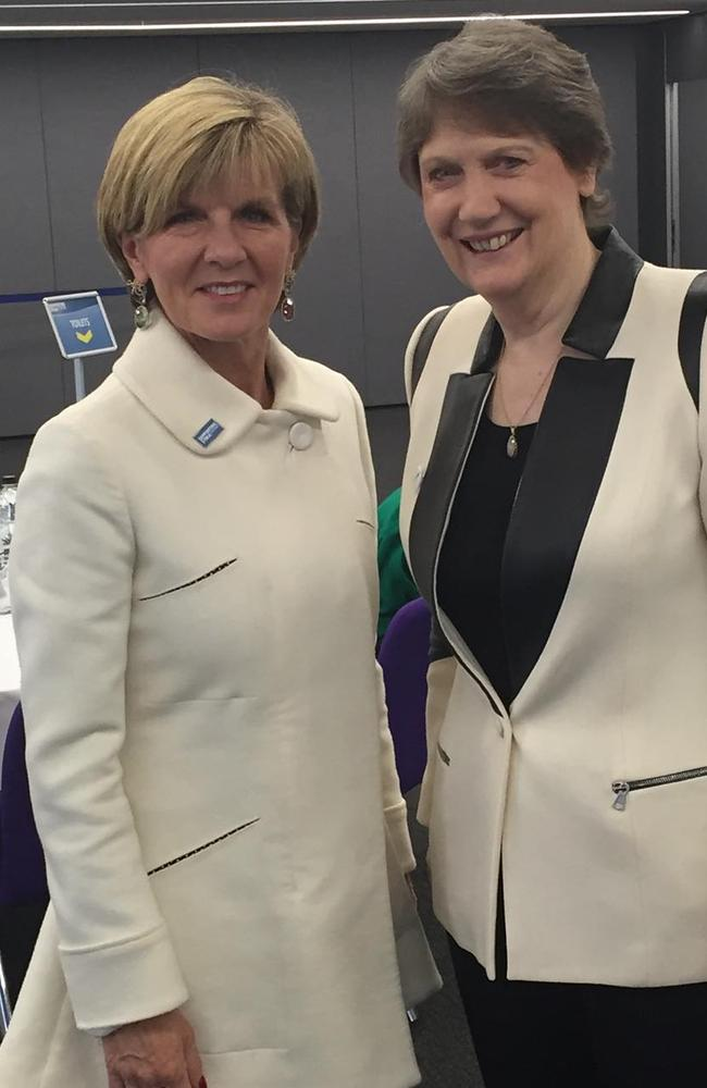 Foreign Minister Julie Bishop showing her meeting with former NZ Prime Minister Helen Clark earlier this month. Picture: Julie Bishop / Instagram