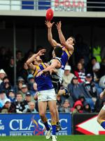 Geelong v West Coast Eagles. Skilled Stadium. Darren Glass flies over the pack to mark