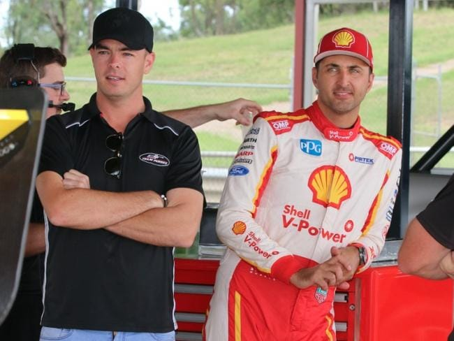 Coulthard and Scott McLaughlin at testing today. Picture: Matthew Paul Photos