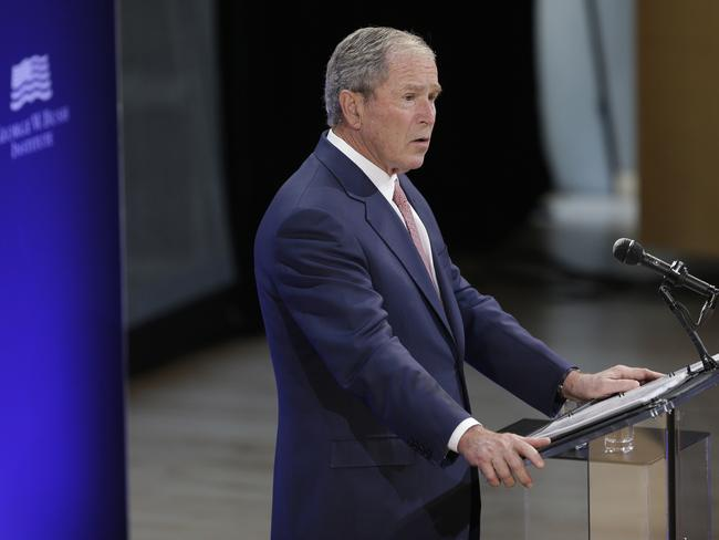 Former US President George W. Bush speaks at a forum sponsored by the George W. Bush Institute in New York. Picture: AP Photo/Seth Wenig