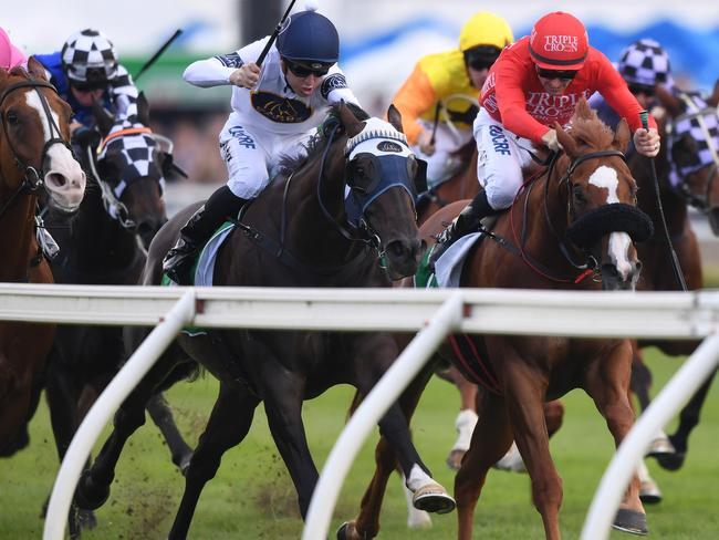 Burning Passion, ridden by Joshua Parr, takes the inside running at Royal Randwick. Picture: AAP