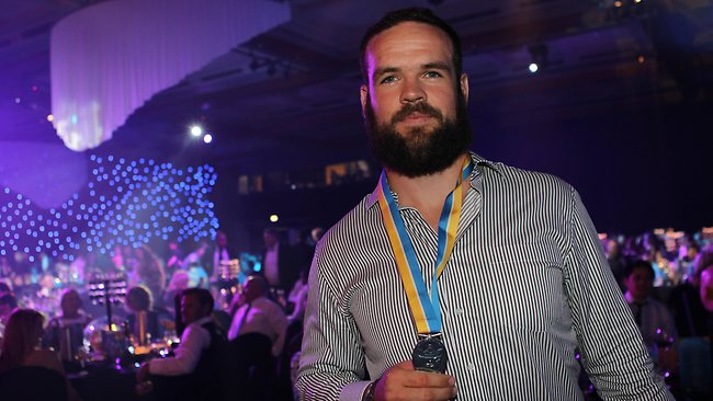 Nate Myles wins the Paul Broughton medal. Picture: Kit De Guymer