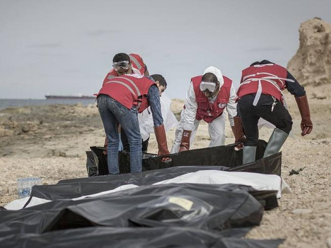 Libya's Red Crescent says 74 bodies of migrants have washed ashore in the western city of Zawiya on the Mediterranean Sea. Picture: Libya Red Crescent/Twitter