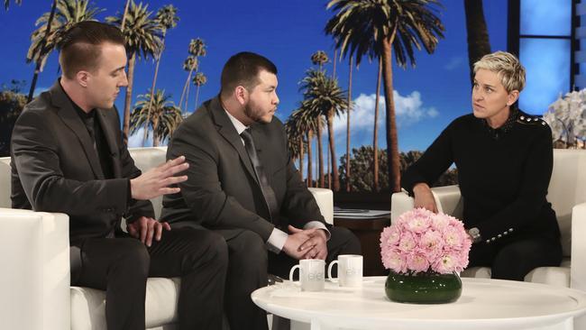 Stephen Schuck and Jesus Campos, centre, told Ellen DeGeneres their story. Picture: Michael Rozman
