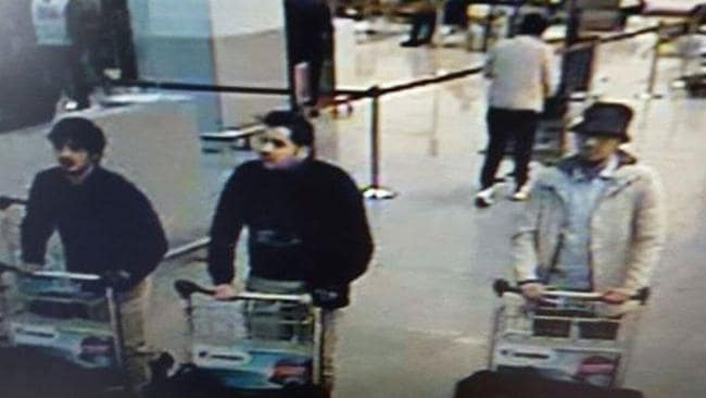 The two men on the right are believed to be the suicide bombers from the airport blasts, with police still searching for the third man. Picture: Belgian Federal Police via AP