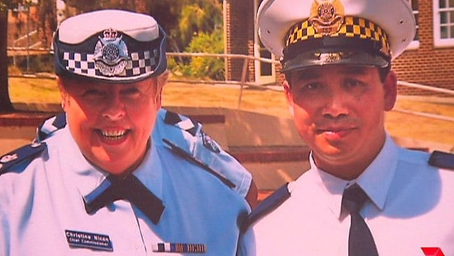 Former police chief Christine Nixon with the injured officer, James Vongvixay. Picture: Channel 7