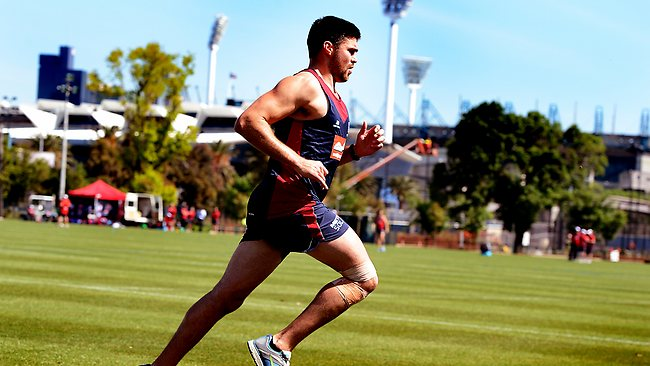 Demons training,Chris Dawes,running 400 metres sprints today, Picture: Wayne Ludbey