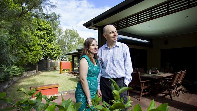Rob and Kimmy Seilor outside their home at Seventeen Miles Rock in Brisbane. Picture: Jack Tran