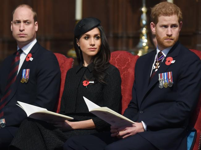 Prince William, Meghan Markle and Prince Harry at an Anzac Day service at Westminster Abbey. Picture: Eddie Mulholland/Pool via AP