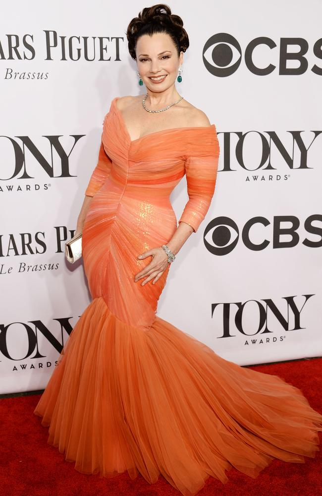 Fran Drescher sauntered down the red carpet in this orange tulle frock.
