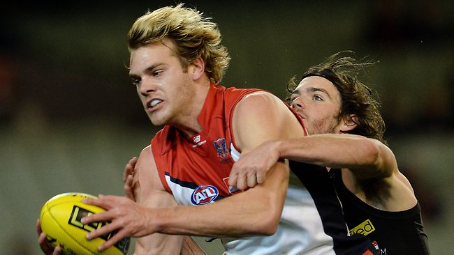 AFL Round 13: St. Kilda v Melbourne at MCG Melbourne 22nd June 2013, Jack Watts takes a mark in front of Dylan Roberton Picture: Petch Colleen