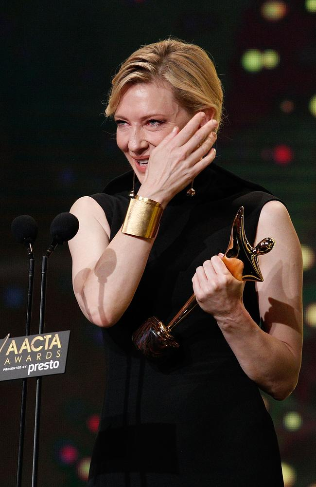 Cate Blanchett wins the AACTA Longford Lyell Award during the 5th AACTA Awards Presented by Presto at The Star on December 9, 2015 in Sydney, Australia. Picture: Getty