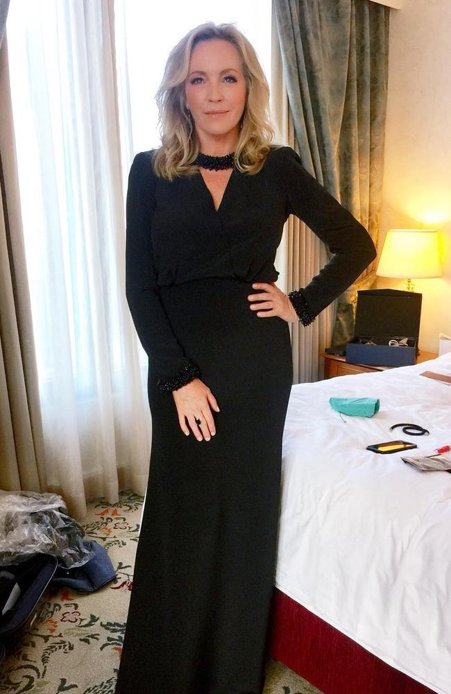 "Rebecca Gibney ... ""OK after HOURS, spanx, fake lashes, hair, face, gorgeous dress. Time to suck it in and hit the red carpet! #leavingroomlikeabombsite #logies #lookout"" Picture: Instagram"