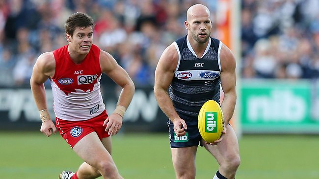 Geelong veteran Paul Chapman burst onto the scene racking up nine disposals in the first term. Picture: Getty