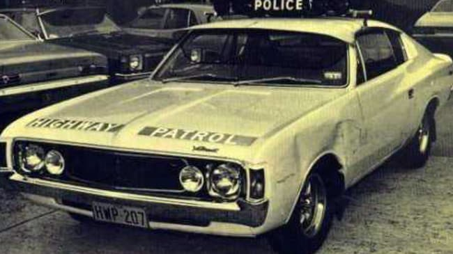 Back in time ... NSW police used Valiant and Ford coupes in the 1970s and 1980s.