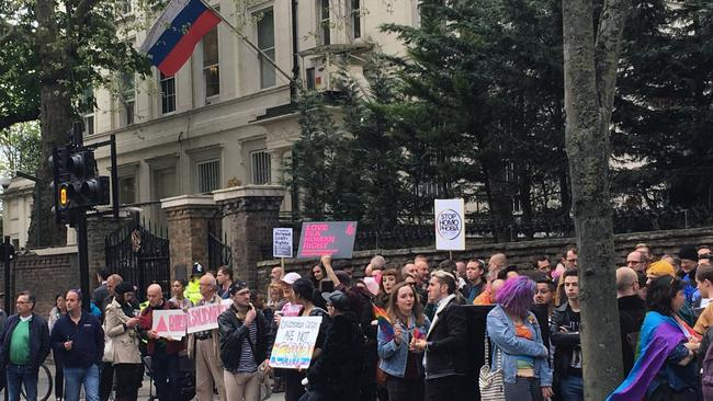 Protests outside the Russian Embassy in London, following reports of the torture and murder of gay men in Chechnya. Picture: Thomas Hornall/PA via AP.