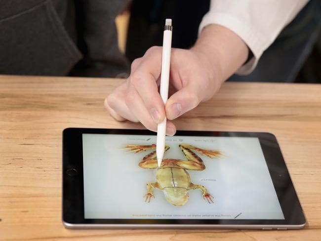 The new 9.7-inch iPad is used to demonstrate the dissecting of a frog during an event held at Lane Tech College Prep High School in Chicago. Picture: Scott Olson/Getty Images/AFP