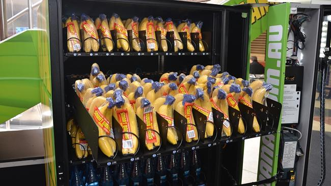 OK, this vending machine with bananas and water probably isn't too bad for you.