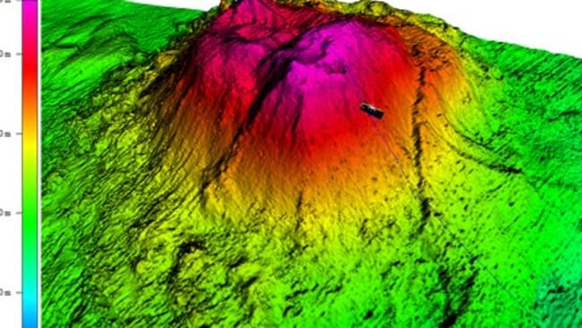 A mud volcano on the ocean floor where Fugro Discovery became separated from its tow fish. Graphic: ATSB