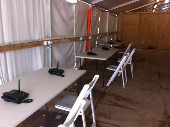 Calling out ... a phone room at the Nauru detention centre. Picture: Supplied