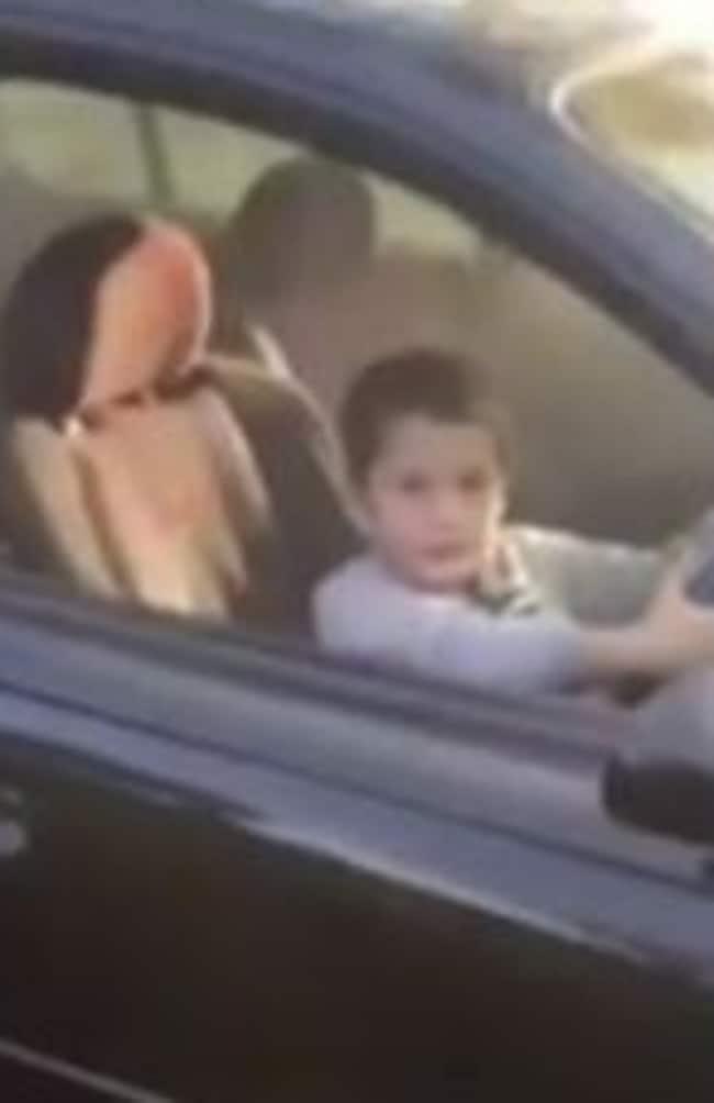 Riley, behind the wheel.