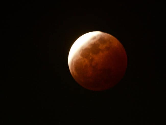 The second total lunar eclipse for 2014 over Darwin. Picture: Michael Franchi