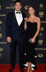 Canberra Raiders player Nick Cotric and Sasha Boljevic arrive at the Dally M Awards in Sydney, Wednesday, September 27, 2017. The awards are named in honour of former Australian Rugby League great Herbert Henry 'Dally' Messenger, and were introduced in 1980. (AAP Image/Dan Himbrechts) NO ARCHIVING