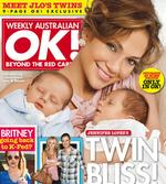 <p>he cover of OK Magazine featuring Jennifer Lopez on the cover with her month-old twins.</p>