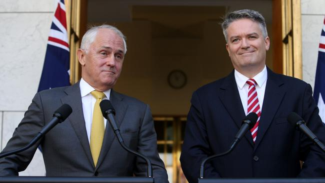 PM Malcolm Turnbull and Senator Mathias Cormann announced their Senate voting proposal last week. Picture: Kym Smith