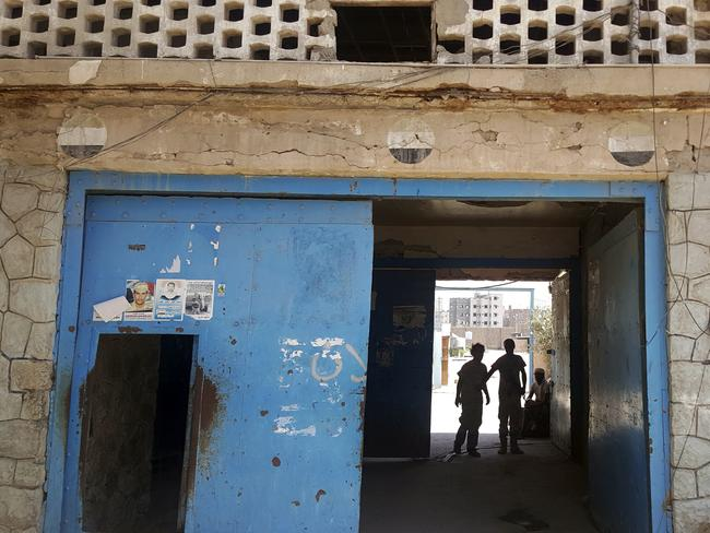 The entrance of Aden Central Prison, known as Mansoura, where one wing is run by Yemeni allies of the United Arab Emirates to detain al-Qaeda suspects, in Aden, Yemen. Picture: Maad El Zikry/AP
