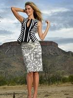Jennifer Hawkins on location in the Kimberley in remote northern Western Australia for Myer's spring-summer campaign: Cue stripe shell top $219, Cue mirrored filigree sateen skirt $185, MCQ Alexander McQueen 'Siona' shoes $400. Picture: Alex Coppel