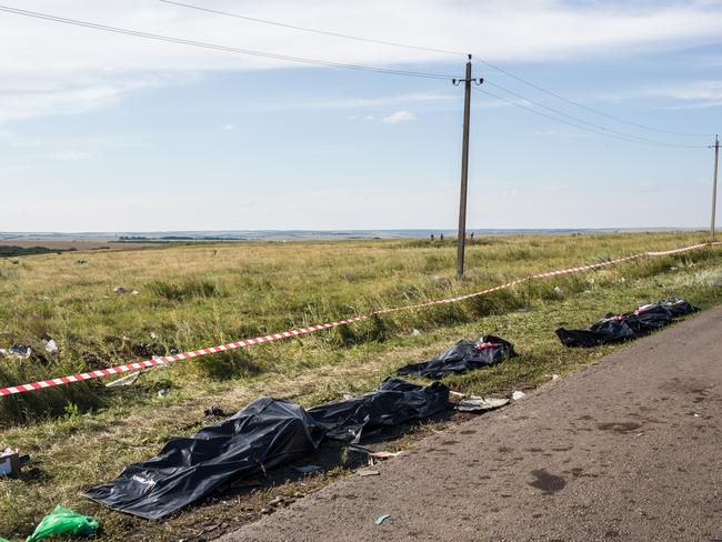 Recovery ... The bodies of victims of the crash of Malaysia Airlines flight MH17 await collection by the side of the road near the crash site on July 20, 2014 in Grabovo, Ukraine.