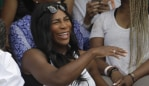 FILE - In this May 31, 2017, file photo, Serena Williams watches her sister Venus Williams' match against Japan's Kurumi Nara during their second round match at the French Open tennis tournament in Paris, France. Serena Williams says on social media that she gave birth to a baby girl named Alexis Olympia Ohanian Jr. The tennis star posted about the birth on her Instagram and Twitter accounts. She says the baby was born on Sept. 1 and weighed 6 pounds, 14 ounces. (AP Photo/Petr David Josek, File)