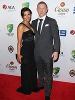 Sandra Benarroch and Chris Rogers on the red carpet arriving at the 2014 Allan Border Medal held at Doltone House at Hyde Park. Picture: Richard Dobson