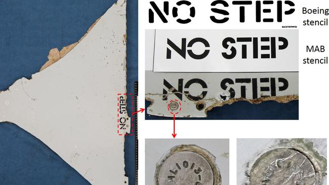 Analysis of a section of horizontal stabiliser found in Mozambique shows the words No Step were stencilled on by Malaysia Airlines. Picture: ATSB and Boeing