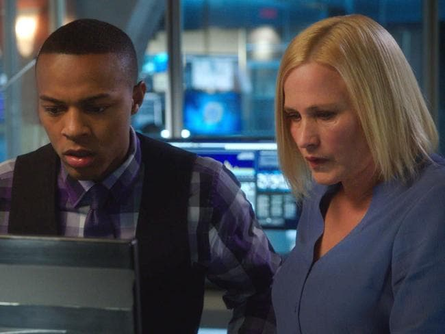 Show's future uncertain ... Avery, played by Oscar winner Patricia Arquette, with Shad Moss, aka Bow Wow, as Broady Nelson in CSI: Cyber. Picture: CBS via Getty Images