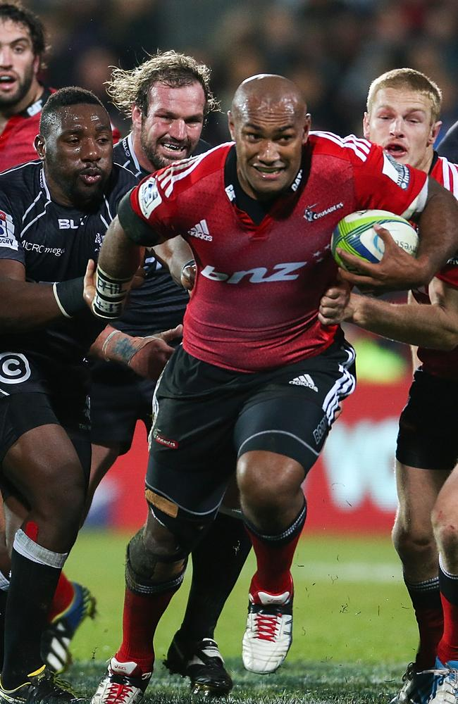 Nemani Nadolo on the charge for the Crusaders against the Sharks earlier this year.