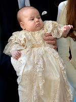 The future heir to the throne Prince George was christened with water from the Jordan River in a once-in-a-lifetime ceremony involving four generations of royals. Picture: Getty